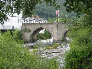 View of ancient Llangollen Bridge over River Dee